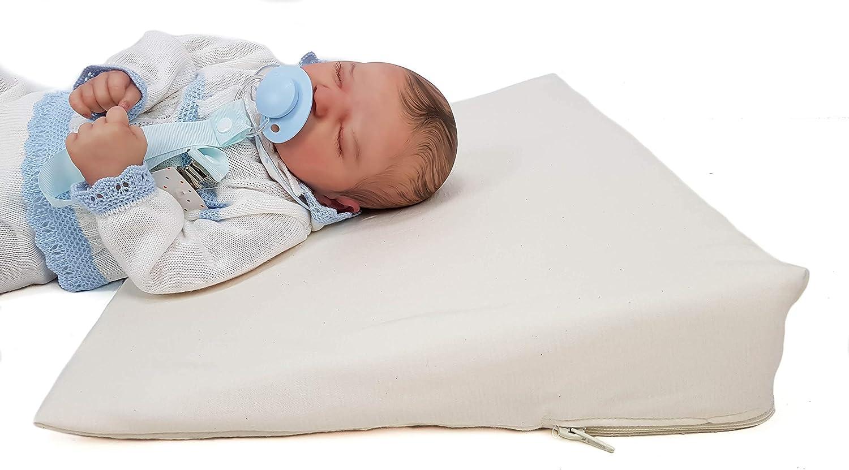 Cuña o almohada antirreflujo y anticólicos para bebé, desenfundable (con dos forros). Varios modelos y tamaños disponibles (Liso, Minicuna 50cm)