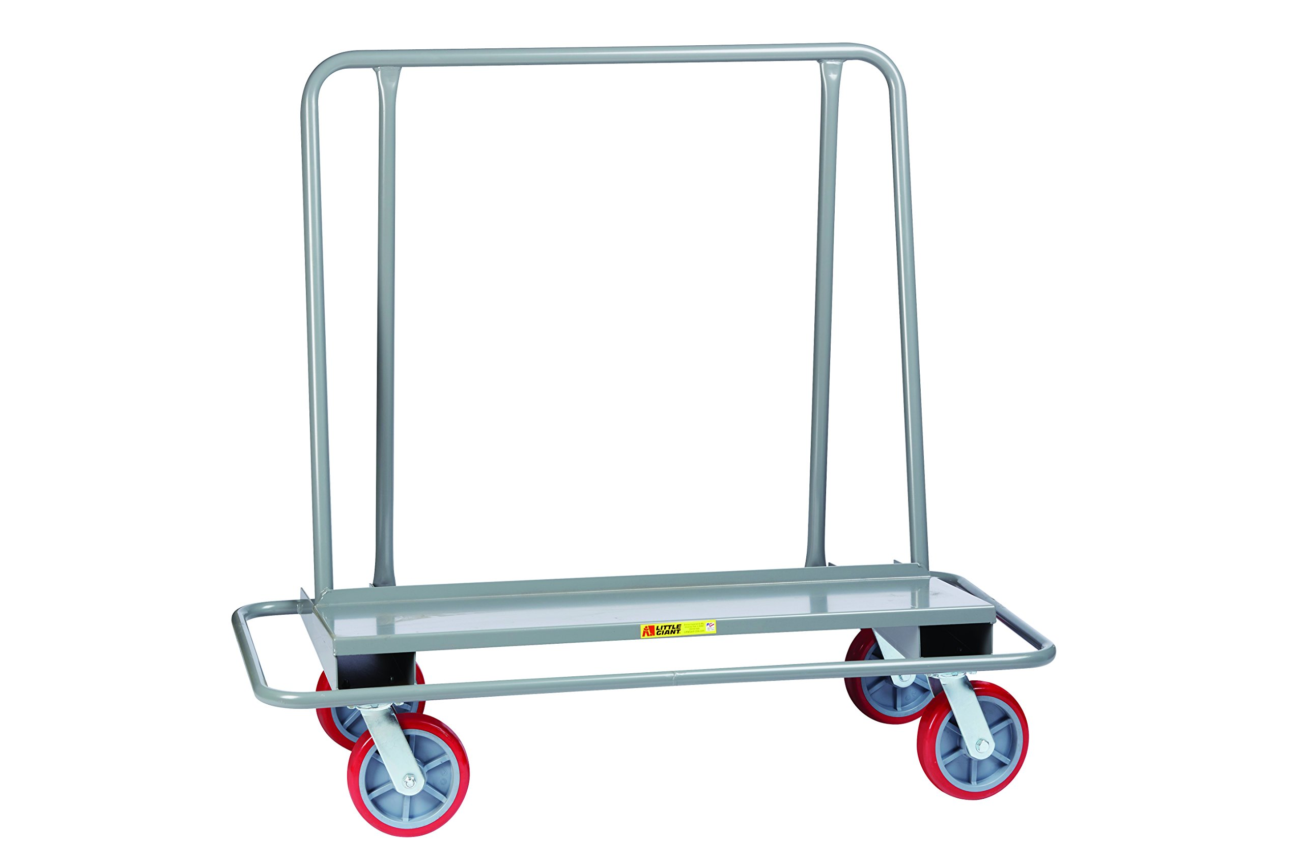 Little Giant DCB-2654-8PY Drywall Cart with Steel Bumper Frame, 4 Swivel, 8'' Nonmarking Polyurethane, Gray
