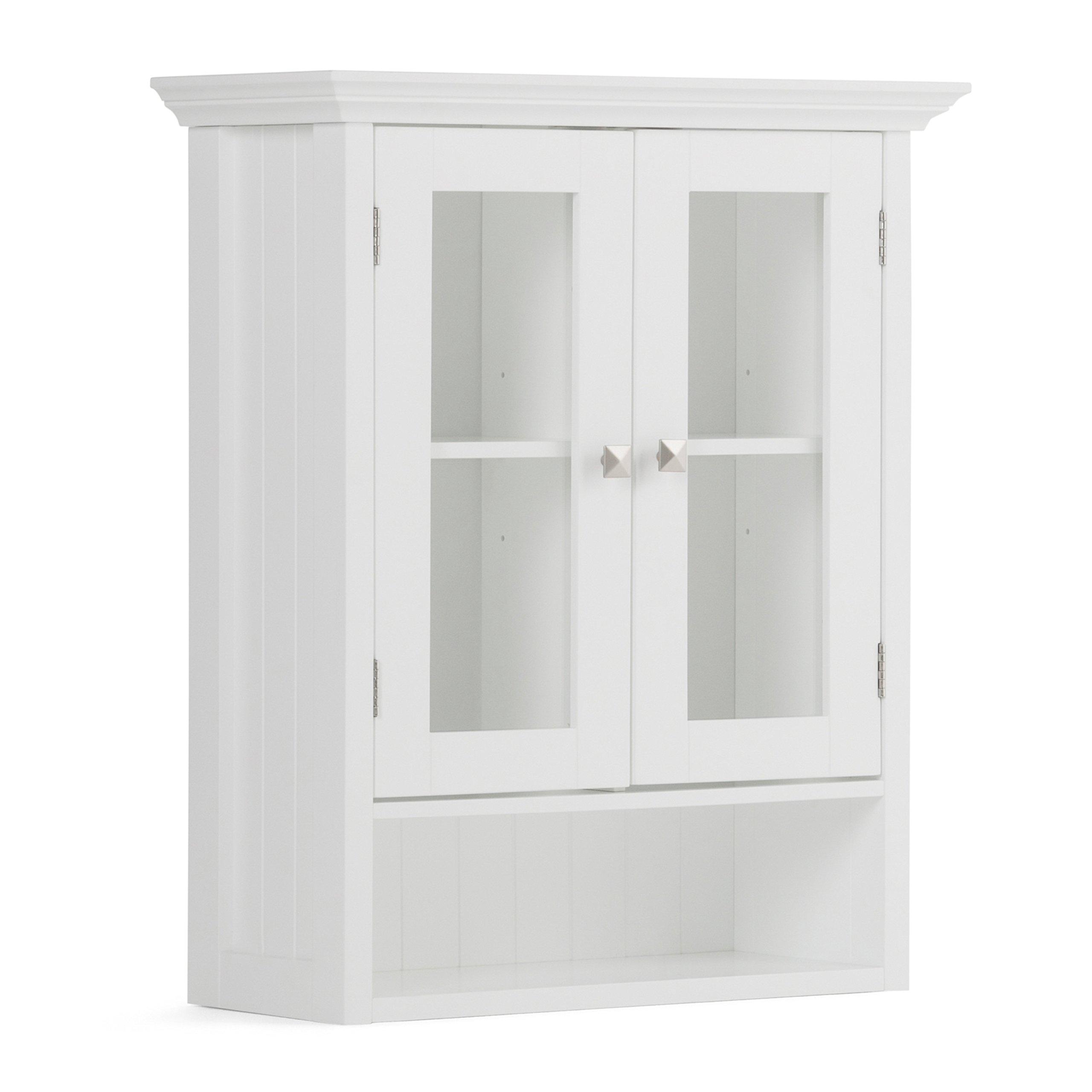 Simpli Home Acadian Double Door Wall Cabinet, White