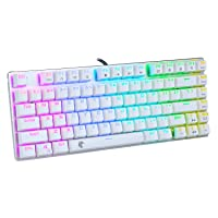 E-Yooso 60 Mechanical Gaming Keyboard for Office and Games, RGB Backlit, Water Resistant, Compact 81 Keys Keyboards with Blue Switch (White)