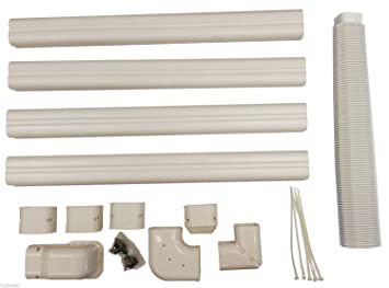 air conditioning conduit. decorative pvc line cover kit for mini split air conditioners and heat pumps conditioning conduit