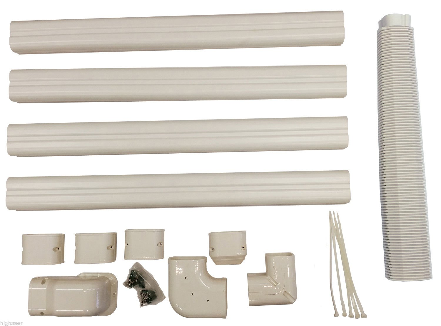 Decorative PVC Line Cover Kit for Mini Split Air Conditioners and Heat Pumps by PIONEER Air Conditioner