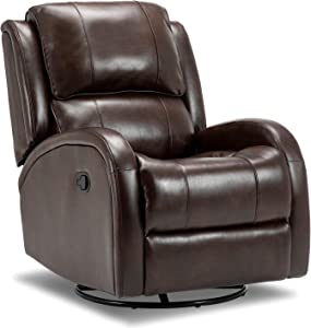Bonzy Home Swivel Recliner Chair Rocker Recliner- PU Leather Overstuffed Recliner - 360° Swivel Glider Home Theater Seating - Faux Leather Bedroom & Living Room Sofa Chair (Brown)