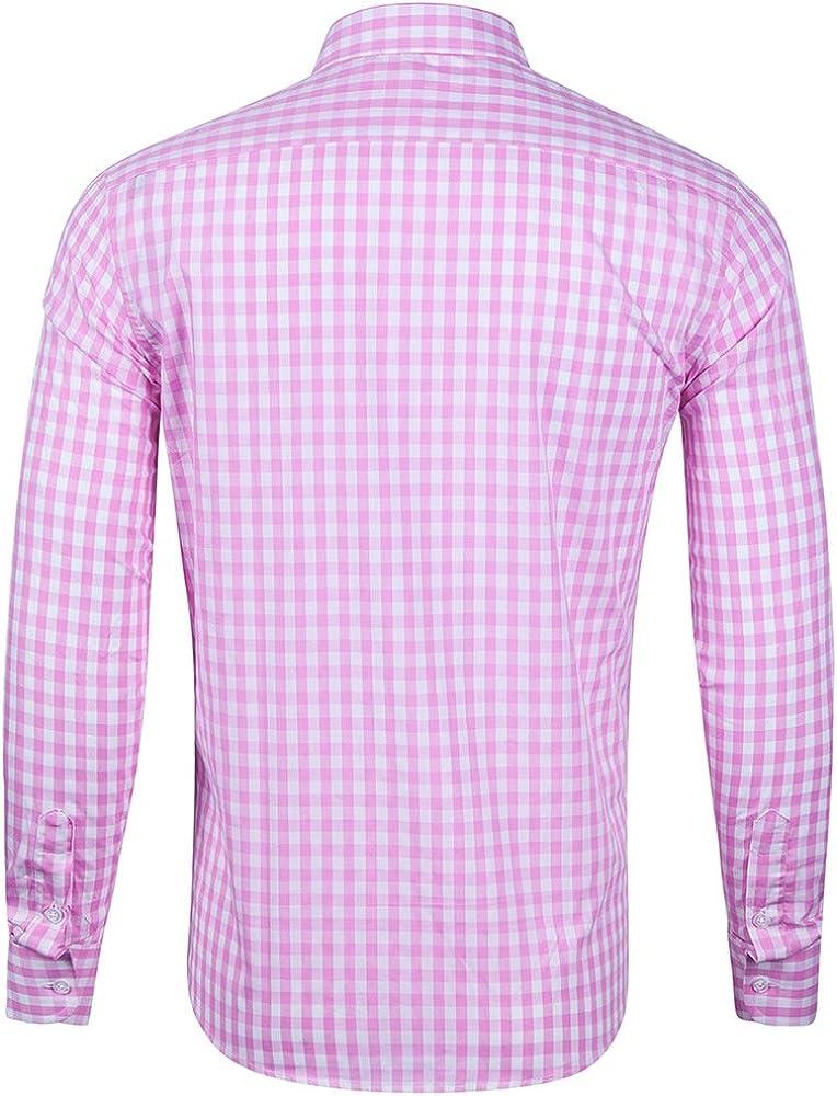 CATERTO Men Plaid Cotton Casual Slim Fit Long Sleeve Button Down Dress Shirts