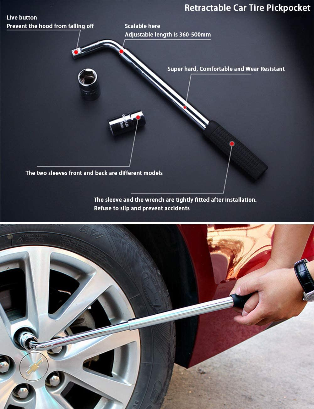 21//23mm Zhhlinyuan Telescopic Lug Wrench Wheel Wrench Extendable Wheel Brace Sleeves Repair Tool for Car Van Truck Spare Tyre Breakdown Emergency Tools Tyre Change Garage Tools 17//19