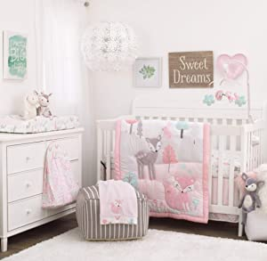 NoJo Sweet Forest Friends - Pink, Aqua, Grey & White 4Piece Nursery Crib Bedding Set - Comforter, Fitted Crib Sheet, Dust Ruffle, Diaper Stacker, Pink, Aqua, Grey, White