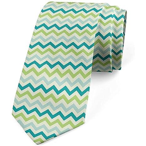 Corbata, colores pastel con zigzags, verde lima azul bebé: Amazon ...