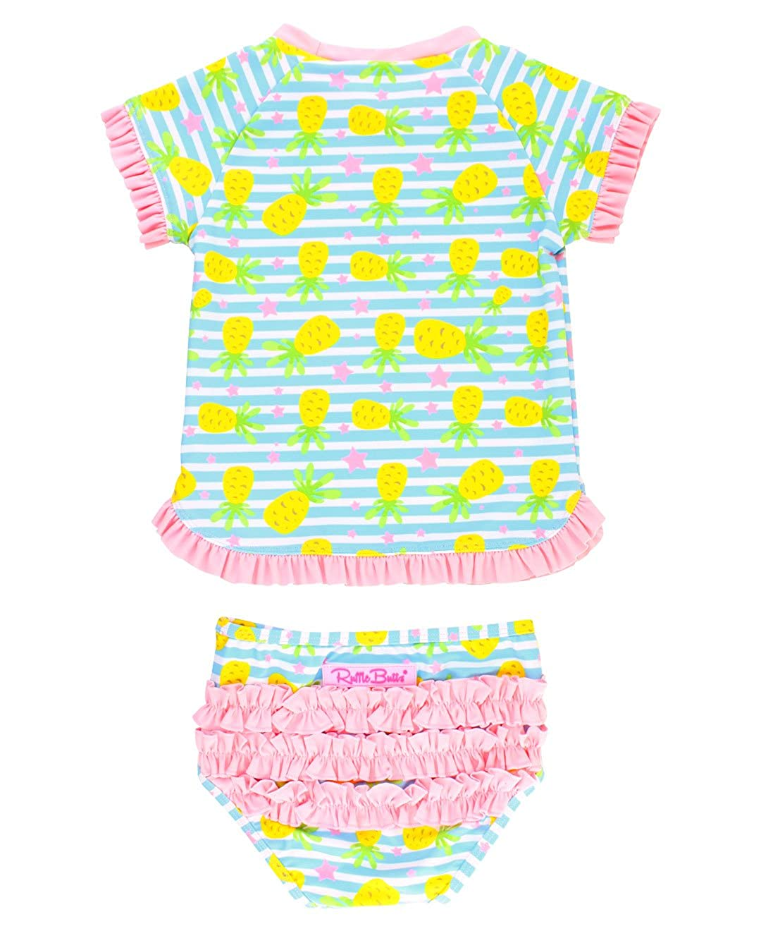 RuffleButts Baby/Toddler Girls Rash Guard 2-Piece Swimsuit Set - Pineapple Print Bikini UPF 50+ Sun Protection RGSBLXX-PPPI-BABY