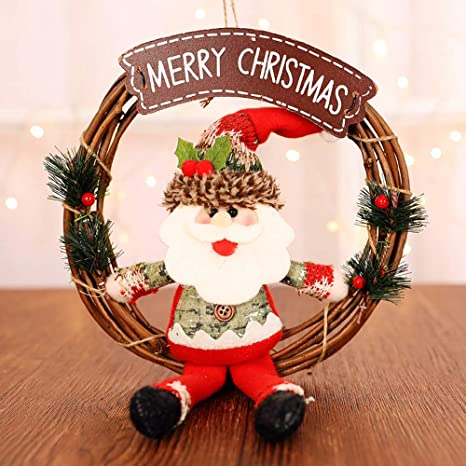 JUNMAONO Christmas Decoración, Coronas Y Guirnaldas, Muñeco De Nieve Santa Claus Adornos, Navidad