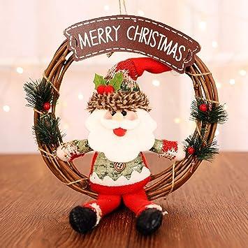 JUNMAONO Christmas Decoración, Coronas Y Guirnaldas, Muñeco De Nieve Santa Claus Adornos, Navidad Decoraciones, Adornos Navideños (1): Amazon.es: Hogar
