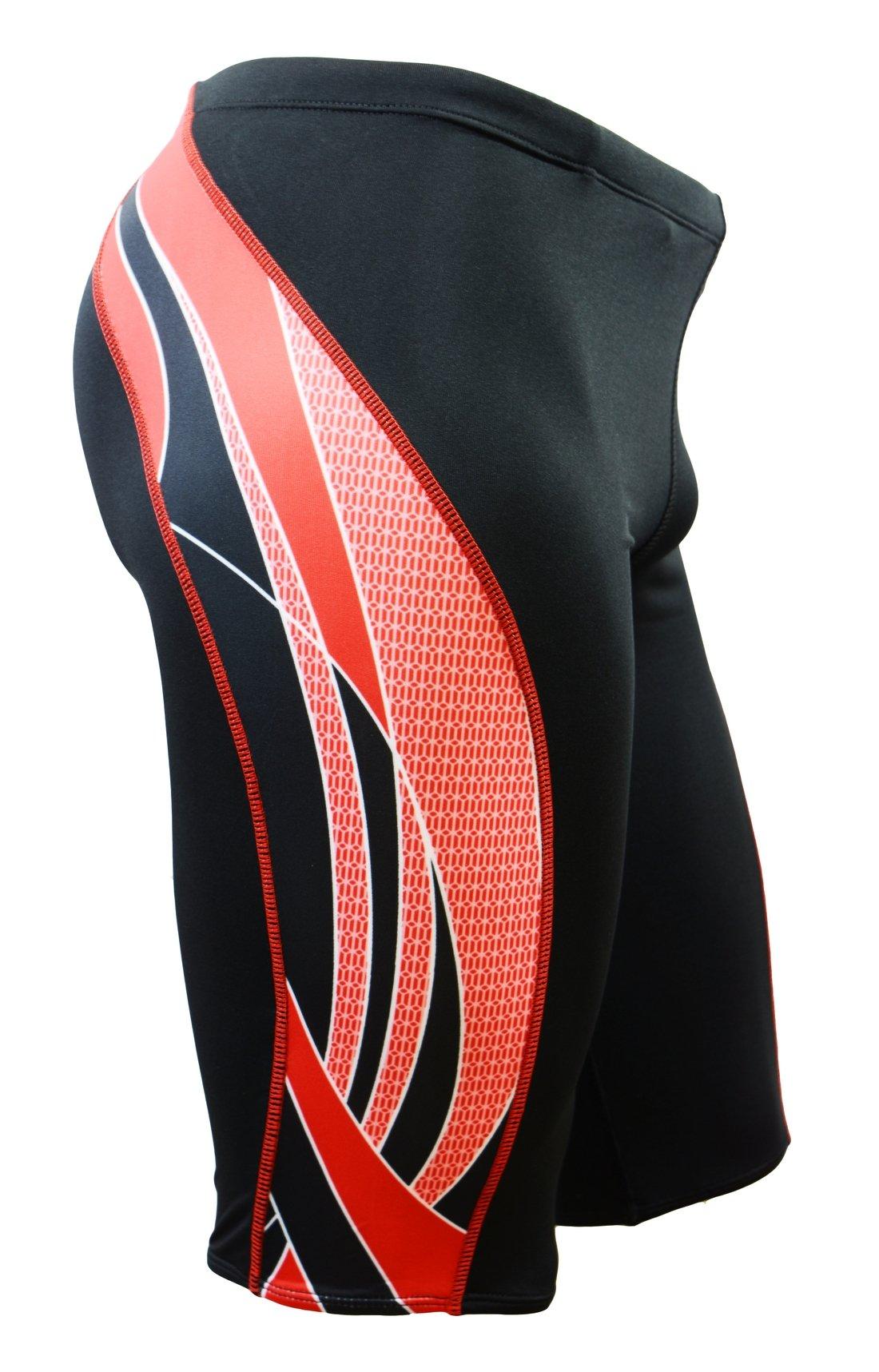 Adoretex Mens Side Wings Swim Jammer Swimwear (MJ009) - Black/Red - 30