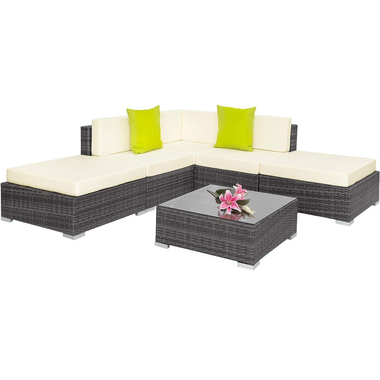 TecTake 403295 Hochwertige Aluminium Polyrattan Lounge, Sitzgruppe mit Glastisch, inkl. Kissen und Klemmen, grau