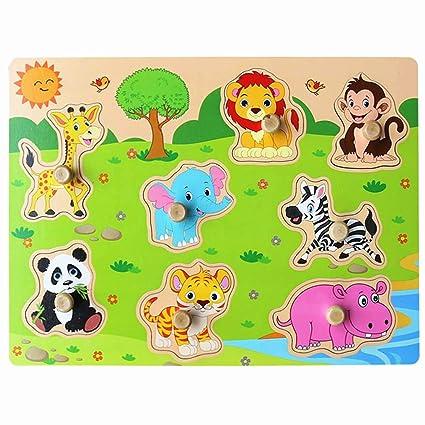 Amazon Com Muxihosn Wooden Zoo Animals Pegged Puzzles Set