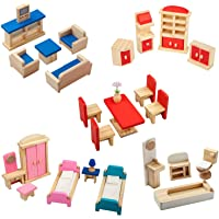 Giragaer 5 Set Colorful Wooden Doll House Furniture, Wood Miniature Bathroom/ Living Room/ Dining Room/ Bedroom/ Kitchen…
