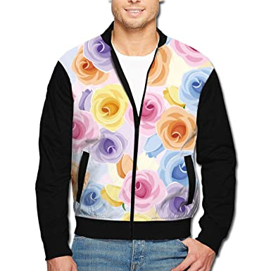 Amazon.com: Chaqueta para hombre, diseño romántico de rosas ...