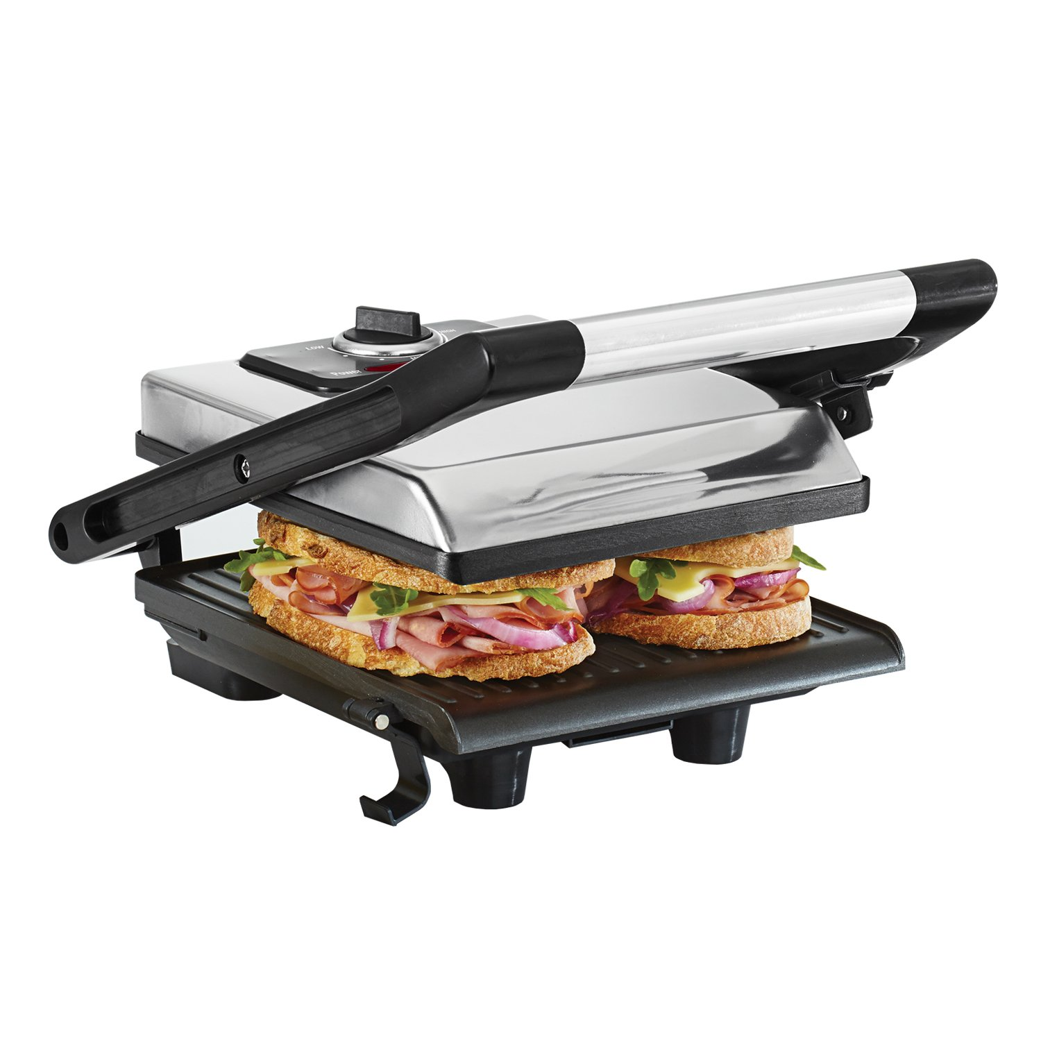 BELLA Electric Panini Press & Sandwich Grill, Polished Stainless Steel (13267) Multifunction Space-Saving Panini Press & Contact Grill with Non-Stick Plates