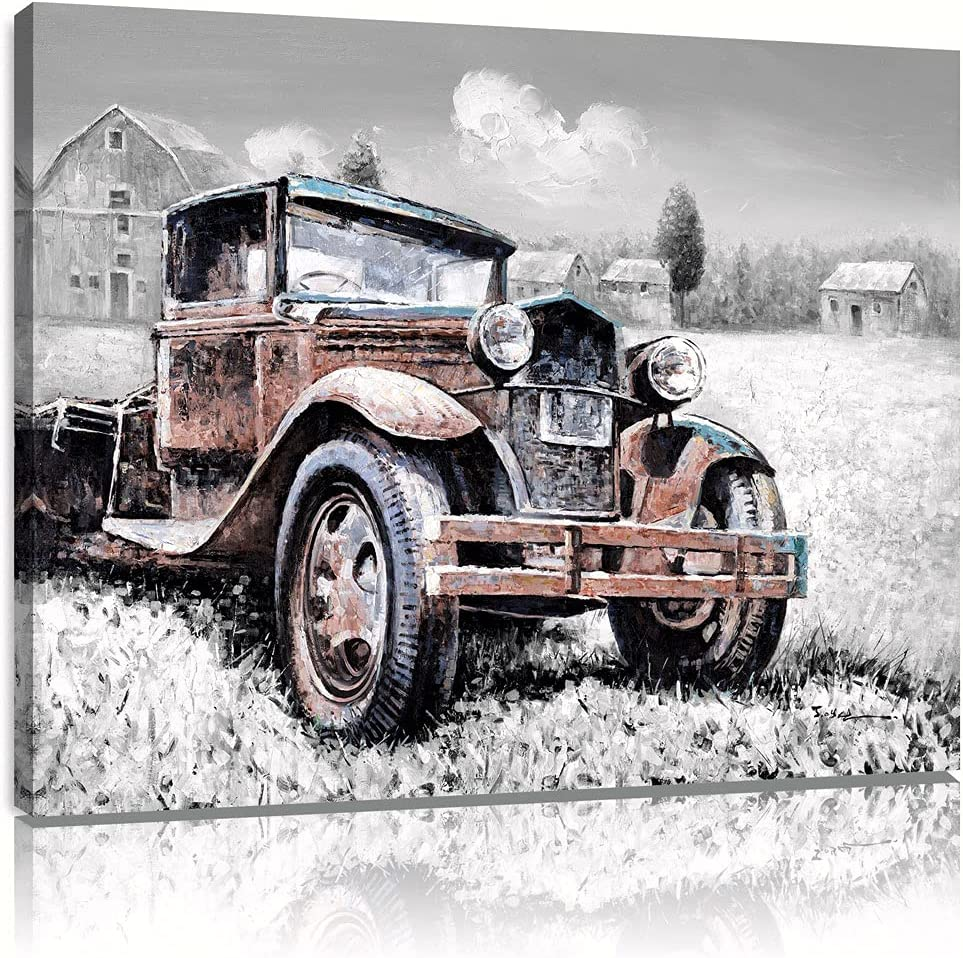 Vintage Red Truck Canvas Wall Art Painting Black and White Farmhouse Barn Picture Kitchen Decor Mural Poster Giclee Print Framed Ready to Hang (12