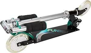 Funbee Patinete 2 Ruedas Luz LED Plegable Manillar Ajustable, Infantil, Multicolor, de 68 A 79 cm