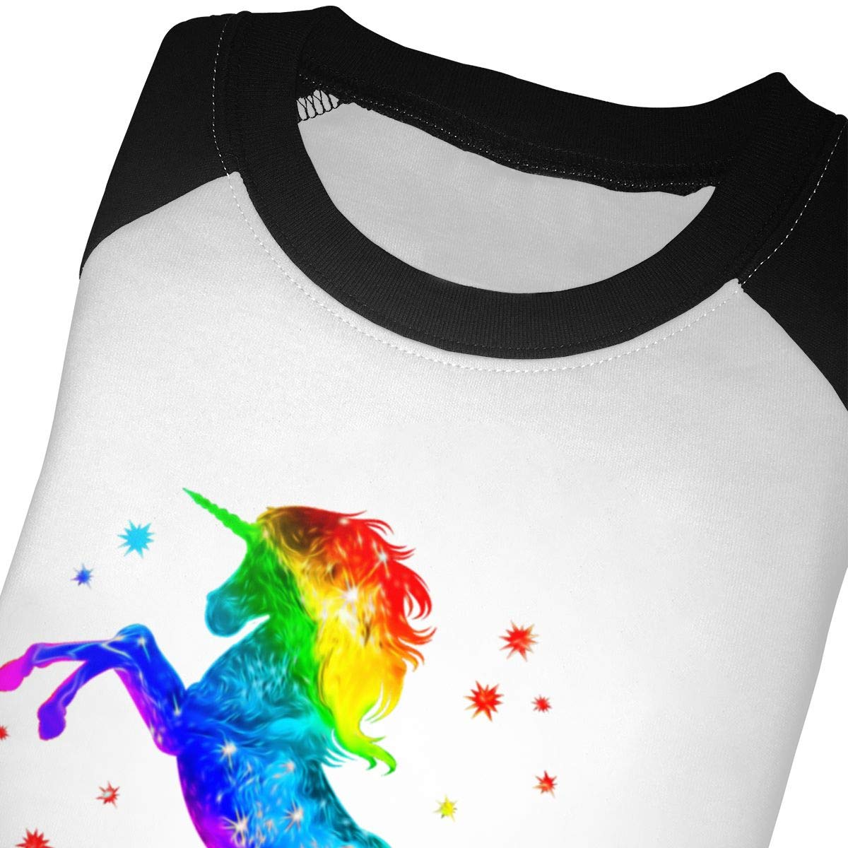 Unicorn Rainbow Galaxy Raglan 3//4 Sleeve T Shirt for Girls Boy