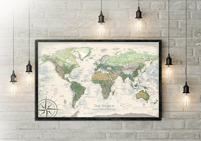 Amazon world map push pin the nautilus world map large world map push pin the nautilus world map large framed map gumiabroncs Images