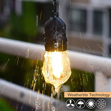 Cymas Outdoor String Lights, 49Ft LED Weatherproof Connectable String Lights