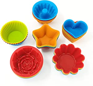 24Pcs Silicone Molds Silicone Cupcake Baking Cups Silicone Flower Molds Silicone Donut Baking Pan Set Nonstick Size About 2.75~3.15 Inches Silicone Donut Mold Oven- Microwave- Dishwasher Safe