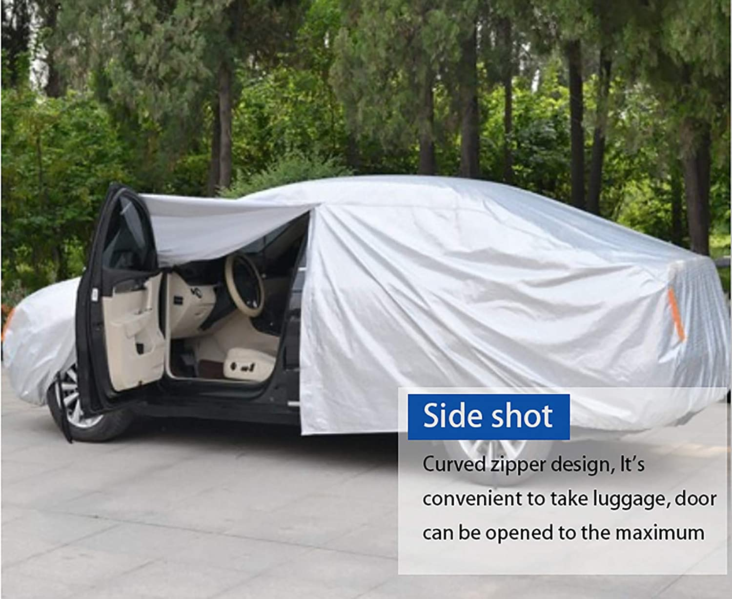 200 61 50.5 Outdoor Full Cover Rain Sun UV Protection with Zipper Cotton Length Up to 200 League 6 Layers Universal Car Cover Waterproof All Weather for Sedan Automobiles