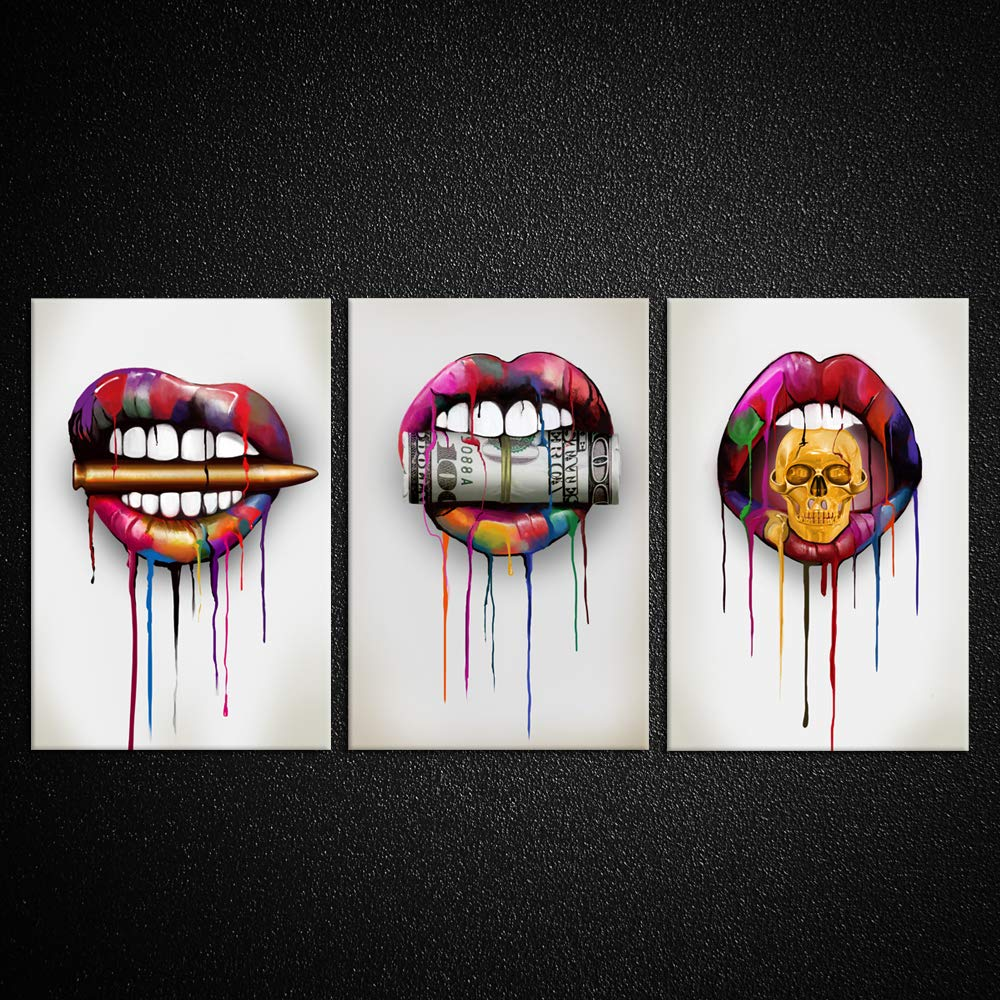 Kreative Arts 3 Pieces Canvas Prints Abstract Lips with Bullet Money Dollars and Skull Wall Art Painting Wooden Framed Modern Home Decor for Man Cave Bedroom Walls Decor Office Bar Ideal Gifts