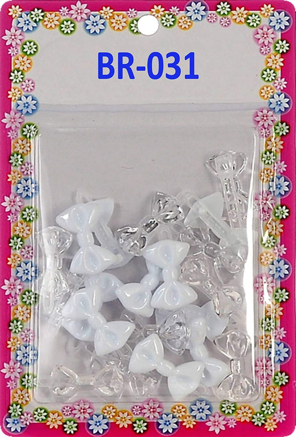 white green butterfly  Plastic girl Barrette clip pin bow
