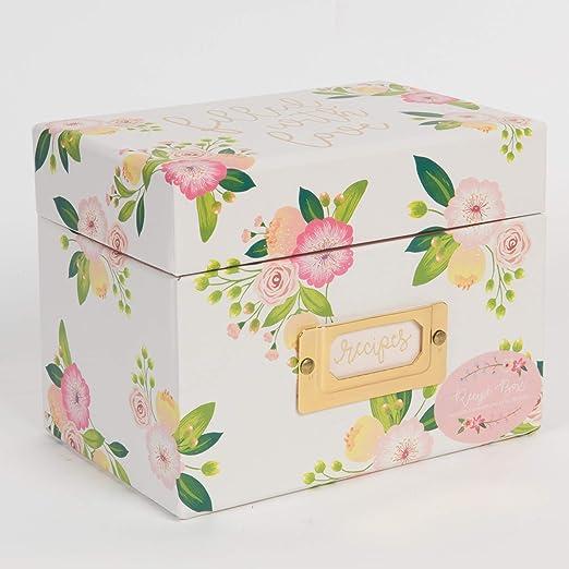 Pink Roses Rosa y Blanca diseño de Rosas de té para jardín – Caja de Receta/Organizador de Recetas – Incluye Tarjetas de Receta y separadores – Tapa con bisagras: Amazon.es: Hogar