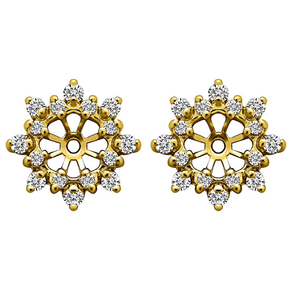 1/2 ct. White Sapphire Cluster Style Earring Jacket in 14k Yellow Gold (0.48 ct. twt.)