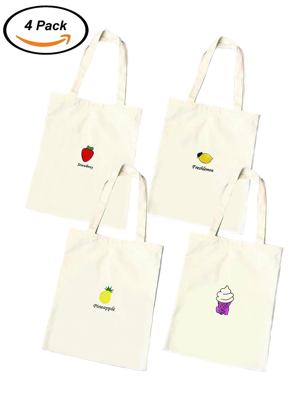 Jiashu 4pcsフルーツパターン洗濯可能キャンバスショッピングバッグ B07CVBFYRJ