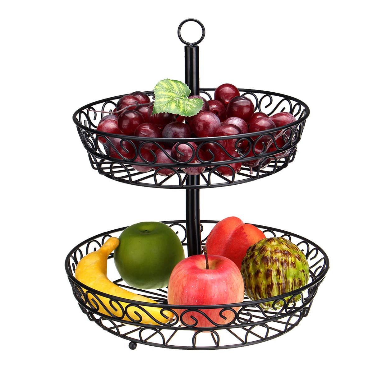 30cm Kitchen Restaurant Fruit Vegetable Basket 2 Tier Iron Rack Storage Organizer Stand Holder