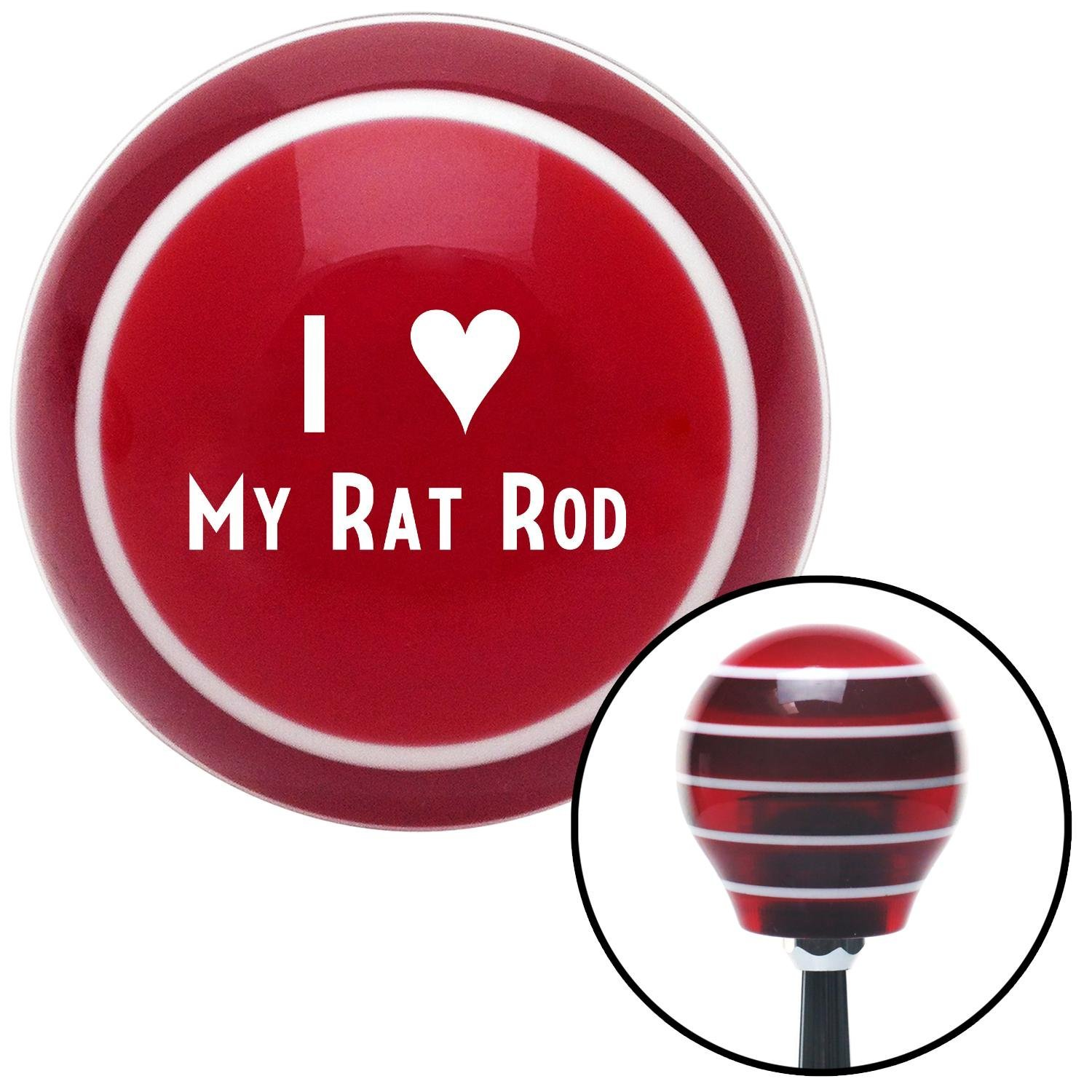 American Shifter 114401 Red Stripe Shift Knob with M16 x 1.5 Insert White I 3 My Rat Rod