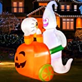 Rocinha Halloween Inflatables Ghost Pushing Pumpkin Cart 5 Ft Halloween Blow Up Decorations with Built-in LED Lights Hallowee