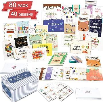 Amazon.com: Feela - Tarjeta de cumpleaños, paquete de 80, 40 ...