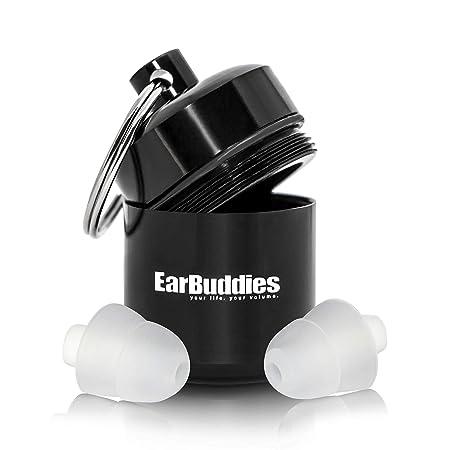 Ear Buddies Gehörschutz 28dB Ohrstöpsel aus Silikon mit Alubehälter für Musik, Konzert, Festival, Disco, Reise, Flug