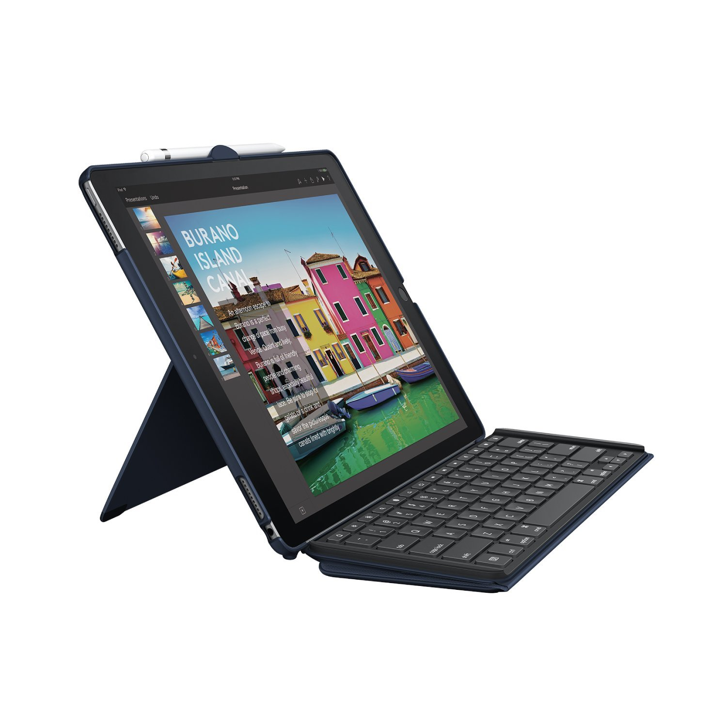 Logitech iPad Pro Keyboard Case SLIM COMBO with Detachable, Backlit, Wireless Keyboard and Smart Connector, 12.9'' (Blue)