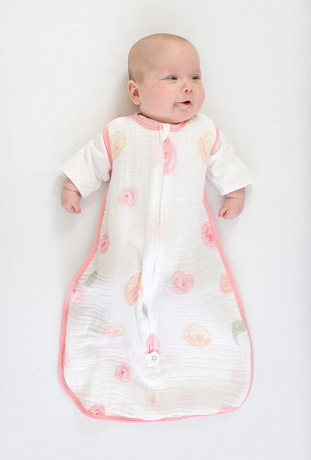 Amazing Baby by SwaddleDesigns Cotton Muslin Baby Sleeping Bag with 2-Way Zipper