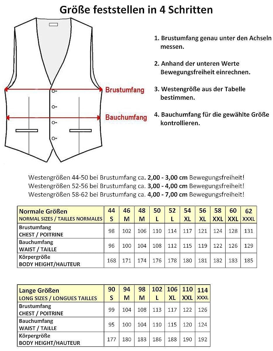 BEYTNUR Hochzeitsweste mit Plastron Einstecktuch und Krawatte 4-TLG Nr 17.1