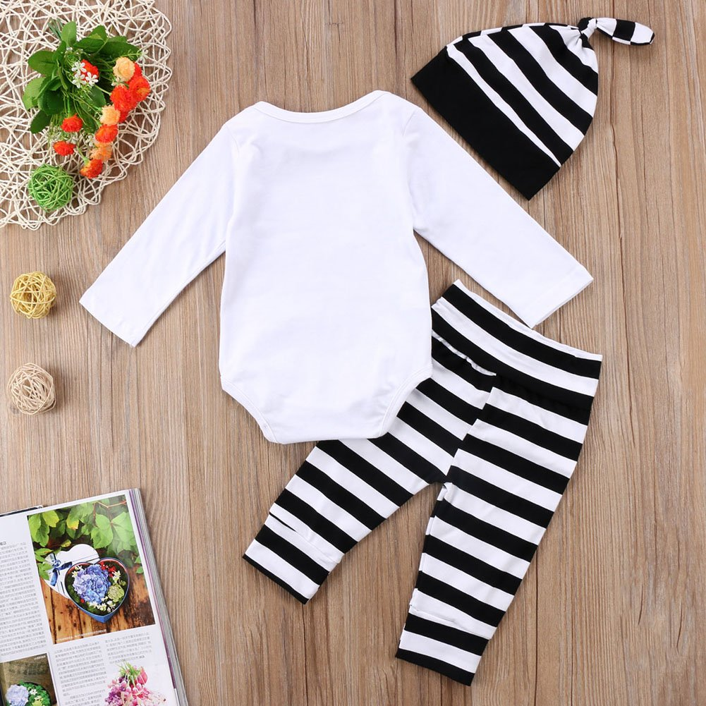 Honganda 3Pcs Infant Newborn Baby Boy Girl Hello World Romper+Striped Pants with Hat Outfit Sets