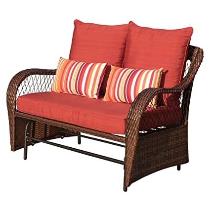 Remarkable Sundale Outdoor 2 Person Wicker Loveseat Glider Bench Chair Patio Porch Swing With Rocker Red Cushions And Striped Pillows Customarchery Wood Chair Design Ideas Customarcherynet