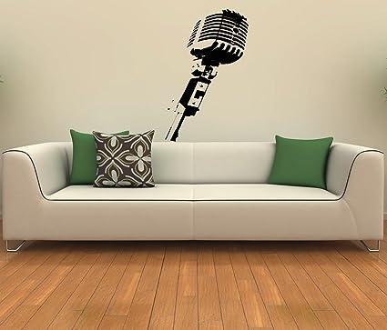 Studio Microphone Musical Decor Recording Music Studio Wall Vinyl ...