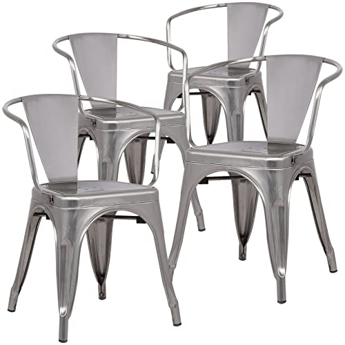 Poly and Bark Trattoria Arm Chair in Polished Gunmetal (Set of 4)