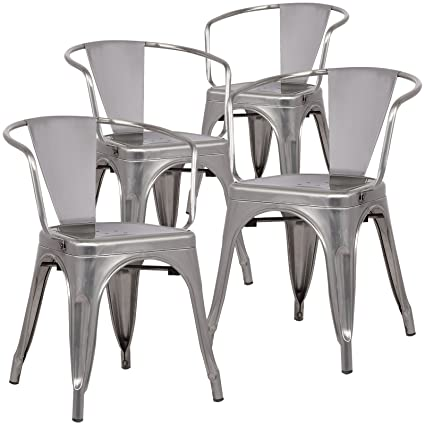 amazon com poly and bark trattoria arm chair in polished gunmetal