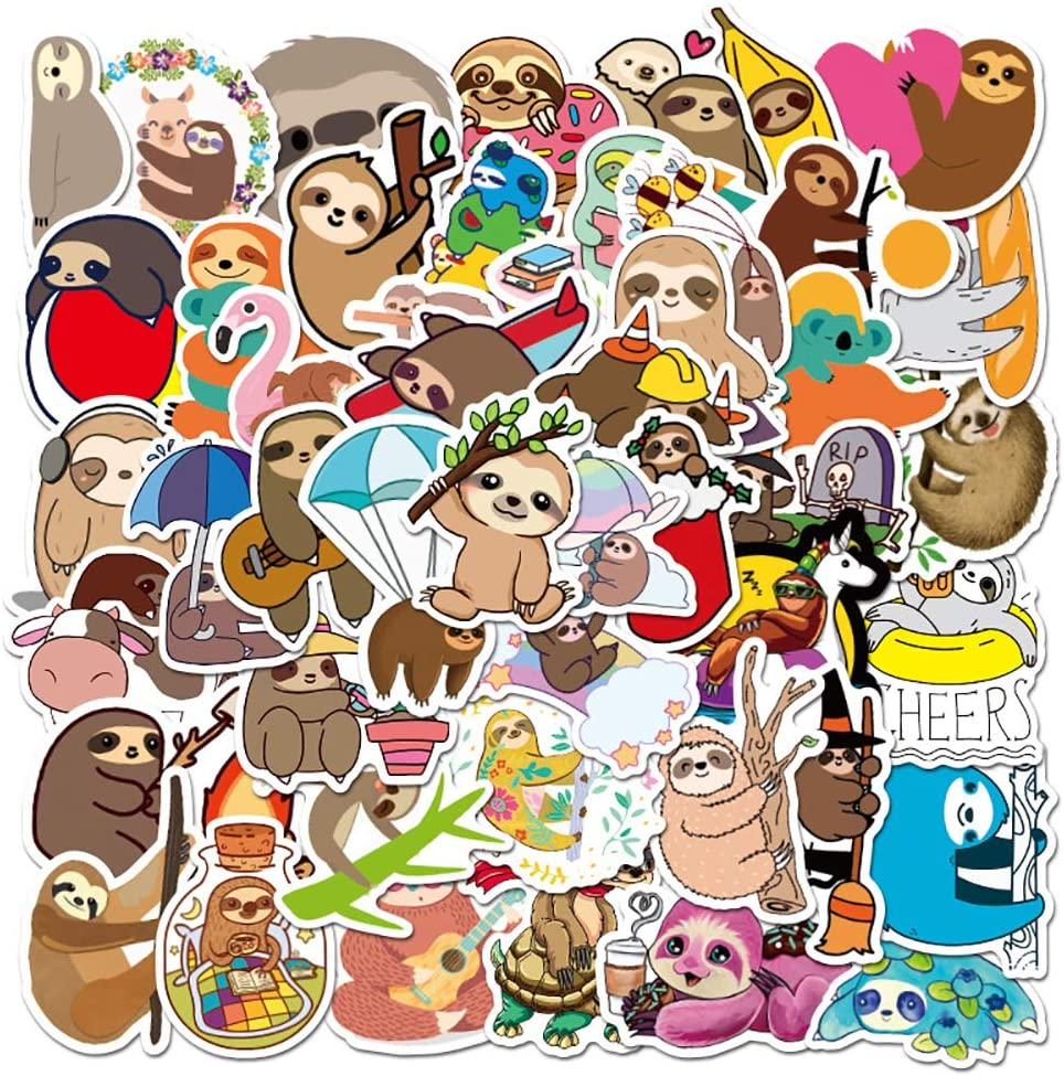 50 pcs Waterproof Cute Aesthetic Sloth Stickers for Laptop, Water Bottles, Phone Case, Hydroflasks, MacBook, Computer, Cars, Sloth Vinyl Decals Kids Party Favors