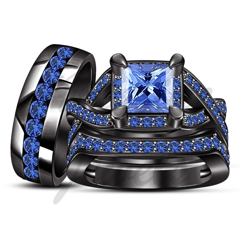 ArtLine Jewels 1.60 Carat Blue Sapphire Matching Engagement Ring 14K Black Gold Wedding Band Trio Set