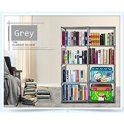 Vividy 4 Shelf Adjustable 8 Cube Bookcase, DIY Bookshelf for Kids Boys Girls, Home Book Storage Furniture (Grey)