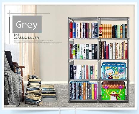 Vividy 4 Shelf Adjustable 8 Cube Bookcase DIY Bookshelf For Kids Boys Girls Home