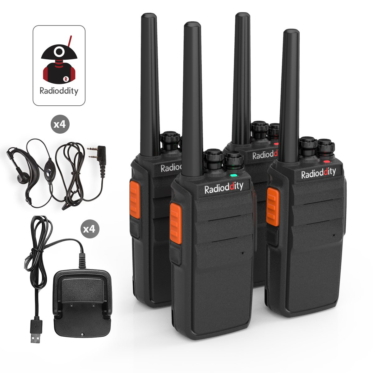 Radioddity R2 Two Way Radio with 16 Channels,96 Hours Super Long Standby VOX Scrambler,1100mAh Li-ion Battery Granular Sensation Walkie Talkie with USB Charger Earpiece Pack of 4